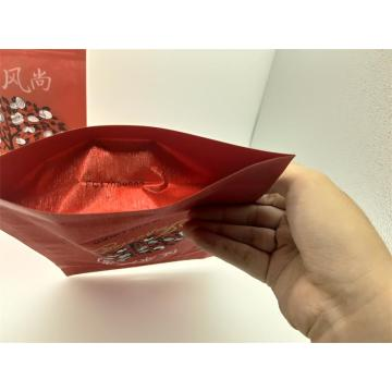 Stand-up Red Silk Packing Bag with zipper