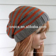 15STC4014 striped cable knit beanie