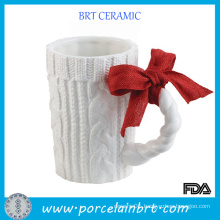 Twisted White Ceramic Cable Knit Mugs