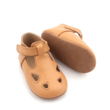 Shenzhen hurtownia Brown Lacework Baby T Bar Shoes