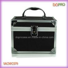 Linda cosméticos organizador caja negro PVC maquillaje cajas (sasc079)