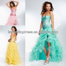 HE2094 Organza ruffled gown with high side front slit short front long back prom dress