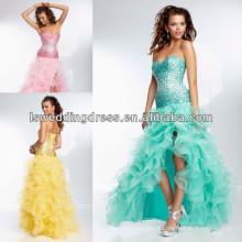 HE2094 Vestido ondulado de organza com frente alto frontal fenda curta frente vestido de baile longo