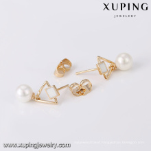 94249 Xuping jewelry fashion white pearl stud earring for woman with 18k gold plated