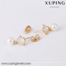 94249 Xuping jóias moda branco pérola brinco para mulher com 18k banhado a ouro