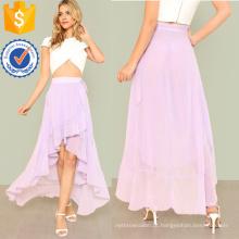 Knot Side Asymmetric Plissado Wrap Skirt Fabricação Atacado Moda Feminina Vestuário (TA3080S)