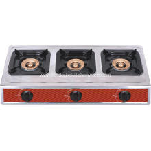3 burner gas cooking range stainless steel
