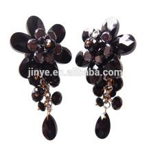 Clip de déclaration florale Bling noir luxe sur boucles d'oreilles en cristal