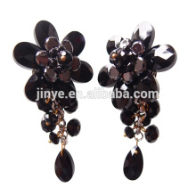 Luxury Black Bling Floral Statement Clip On Crystal Earrings