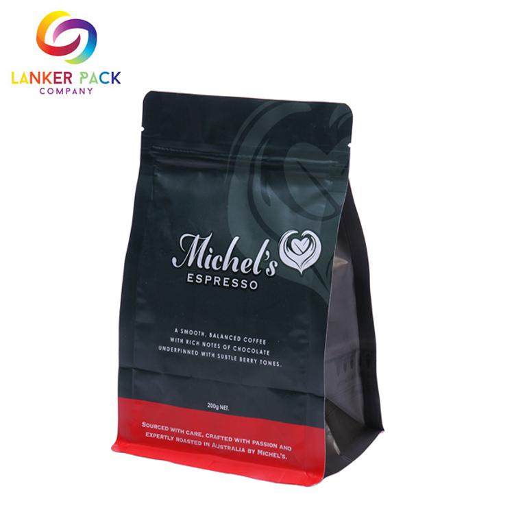 Custom Waterproof Coffee Flat Bottom Pouch Bag