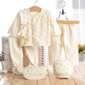 Farbige Baumwollstern und Streifen Neugeborene Baby-Kleidung 5PCS