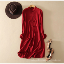 Классическая модель чистый цвет восстановление древних путей элегантный длинный кардиган свитер 100% чистый кашемир длинный рукав вязать платье