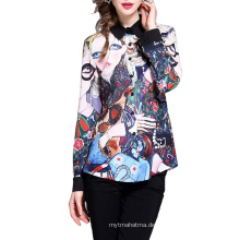 Elegantes Design Vollärmel Polyester Bunt bedruckte Damen