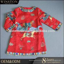 Popular Venda flor decoração manga curta vestido infantil