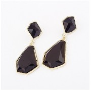 fashion boutique earring Korean luxury black acrylic stone Stud Earrings factory outlet gold plate metal drop earrings wholesale