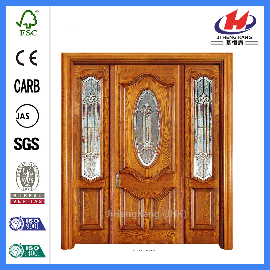 * JHK-003 CS Wood Door Frame Wood Carving Disegni per porte Porte interne in mogano