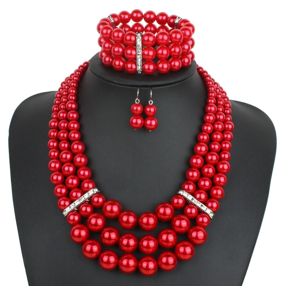 Bridesmaid Red Pearl Necklace Bracelet And Earring Set