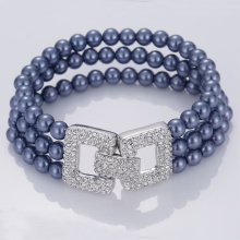 Leading for Womens Cuff Bracelet Imitation 3 Strand Ocean Blue Glass Pearl Bracelets export to United States Factory