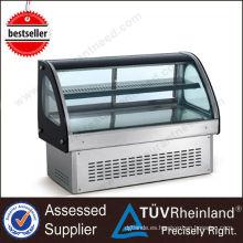 Venta caliente equipos de cocina Comercial vitrina de pastel de vidrio
