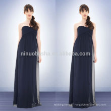 Under 100 2014 Navy Blue Chiffon Empire Bridesmaid Dress Sweetheart Full-length Long Prom Gown With Criss-Cross Pleats NB0727