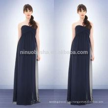 Под 100 2014 темно-синий Империи шифон невесты платье милая полная длина длинное вечернее платье с крест-накрест складки NB0727