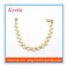Dongguan jóias pulseira pérola grânulo desembarque encantos pulseiras ouro acessórios mulheres