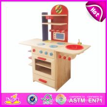 2014 New Pretend en bois bébé jouet de cuisine, populaire en bois en bois bébé cuisine et vente chaude en bois bébé cuisine W10c081b