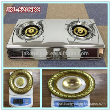 mirror finish stainless steel 2 burner gas cooker stove