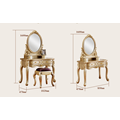 2017 golden color folding mirrored cosmetic cabinet makeup dresser table for bedroom