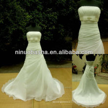 NW-385 Straight Neckline Pleated Skirt Organza Wedding Dress