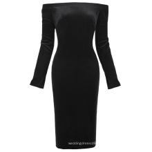 Kate Kasin de manga larga de las mujeres fuera del hombro caderas-Wrapped Negro Velvet Bodycon lápiz vestido KK000500-1