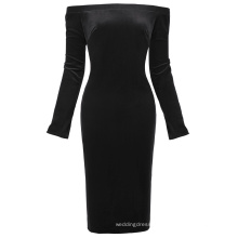 Kate Kasin Women's Long Sleeve Off Shoulder Hips-Wrapped Black Velvet Bodycon Pencil Dress KK000500-1