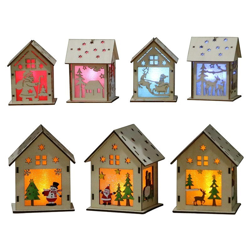 Mini Wooden House with Light Bulb