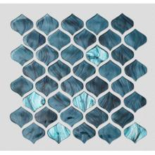Malachite Green Arabesque Stained Glass Mosaic For Bathroom