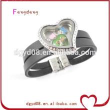 Stainless Steel Locket leather bracelet