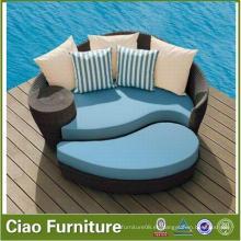 Tumbona de rattan lateral de piscina de diseño exterior Morden Design con otomana (FL-015)
