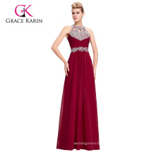 Grace Karin Full-Length Long Evening Gowns Backless Halter Sequined Chiffon Red Beaded Evening Dresses GK000086-1
