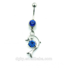 Stainless Steel Crystal Dolphin body Piercing belly button rings