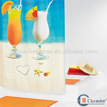 Thick waterproof printed beach shower curtains