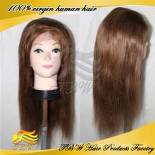 Perucas completas completas da parte superior de seda da peruca cheia do laço do cabelo humano da categoria 100% de 7A não processadas