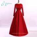 Кружева Аппликация Атласная Красный Плюс Размер Длинный Рукав Вечернее Платье