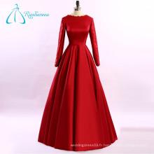 Appliques en dentelle Satin Red Plus Size Long Sleeve Evening Dress
