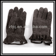lady thickening lining winter dark coffee suede leather glove