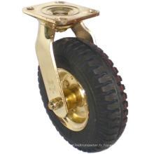 Roulette pneumatique pivotante (noir) (plaqué or)