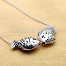 Antique design bonito peixes forma 925 pingentes de prata esterlina