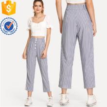 Pantalon rayé de panneau de contraste Fabrication de vêtements en gros de mode des femmes (TA3091P)