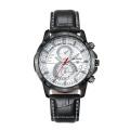 Fashion Wristwatch Multifunction 42mm Metal Case Leather Strap