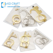 Antimicrobial Anti Virus No Contact Contactless EDC Hygienic Tool Key Chain No Touch Brass Hands Free Door Opener Keychain