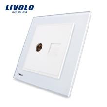 Livolo UK Standard 2 Gangs Wall Telephone and TV Sockets VL-W292VT-11