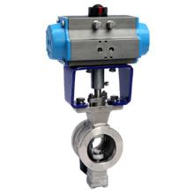 Válvula de bola V-Port neumática V-Port de tipo Wafer ZSHV / Válvula de control V-Port